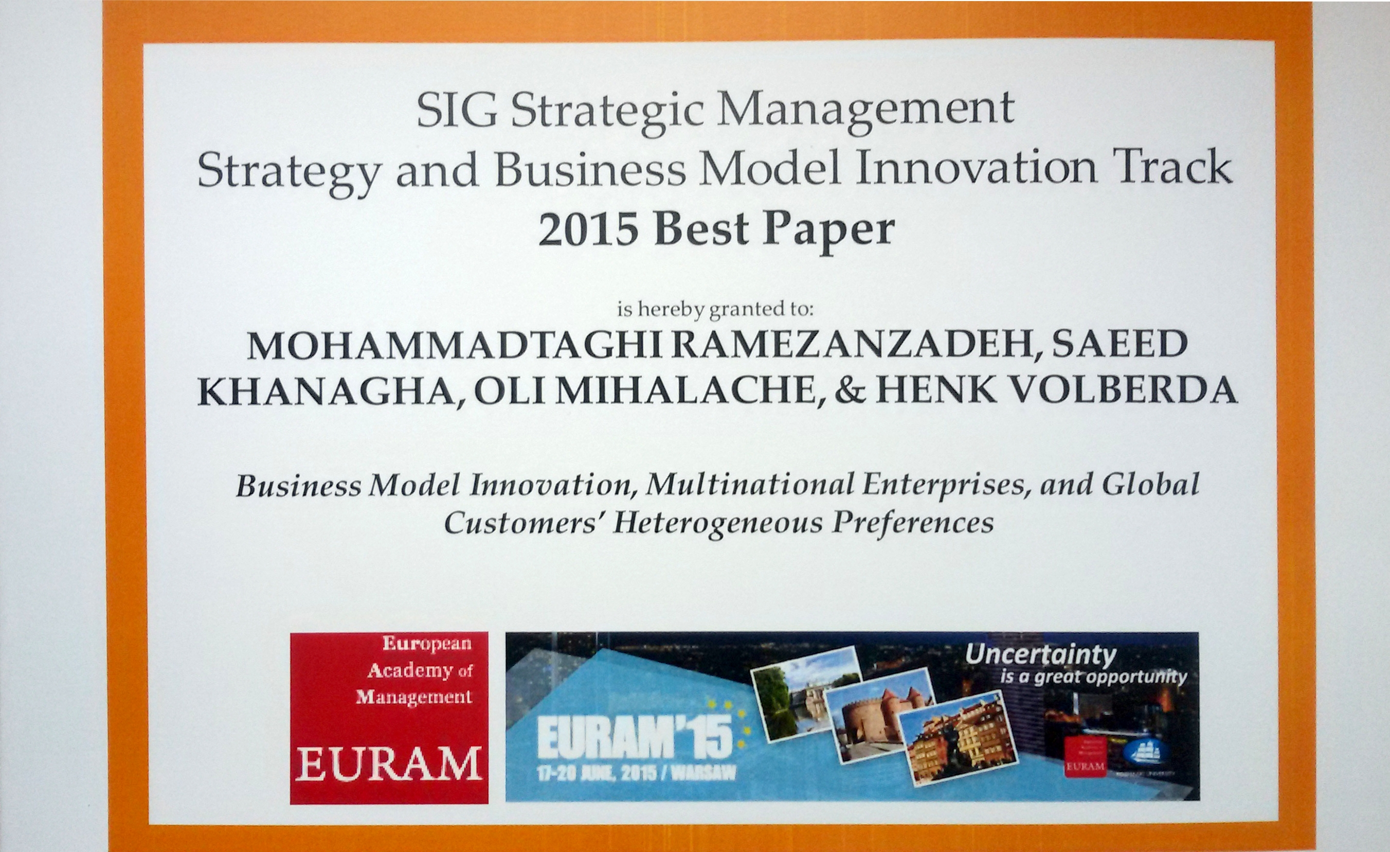 RSM business model innovation research wins award in Poland